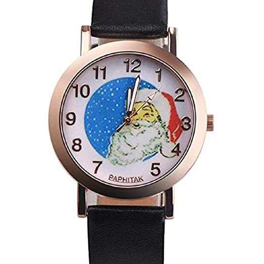 Scpink Mujeres Navidad Anciano Patrón Nuevo Relojes de Pulsera para Mujer Relojes analógicos Relojes Femeninos de