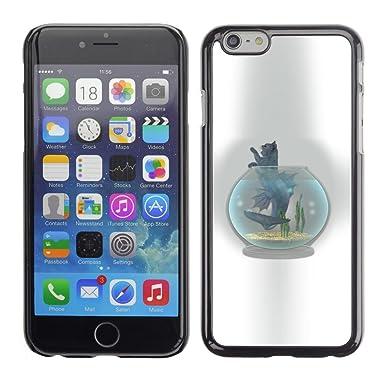 Carcasa de plástico funda | | iPhone 6 | | Gato pecera bol gris arte dibujo
