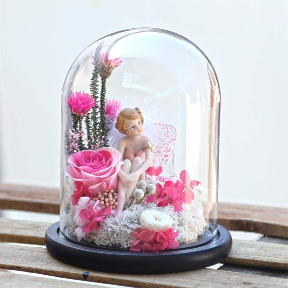 Centishop Everlasting Flower Glass Cover,Everlasting Flower Illuminated Light with Glass Cover Rose Pattern Box Decoration for Valentines Day Mothers Day Best Gift