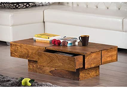 Km Decor Solid Sheesham Wood Coffee Table 2 Drawer Centre Table For Living Room Amazon In Home Kitchen