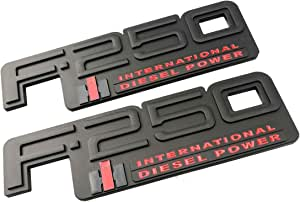 2x OEM F-350 International Side Fender Door Emblem 3D Decal Nameplate Diesel Power Badge Replacement for 83-94 F350 Black Red