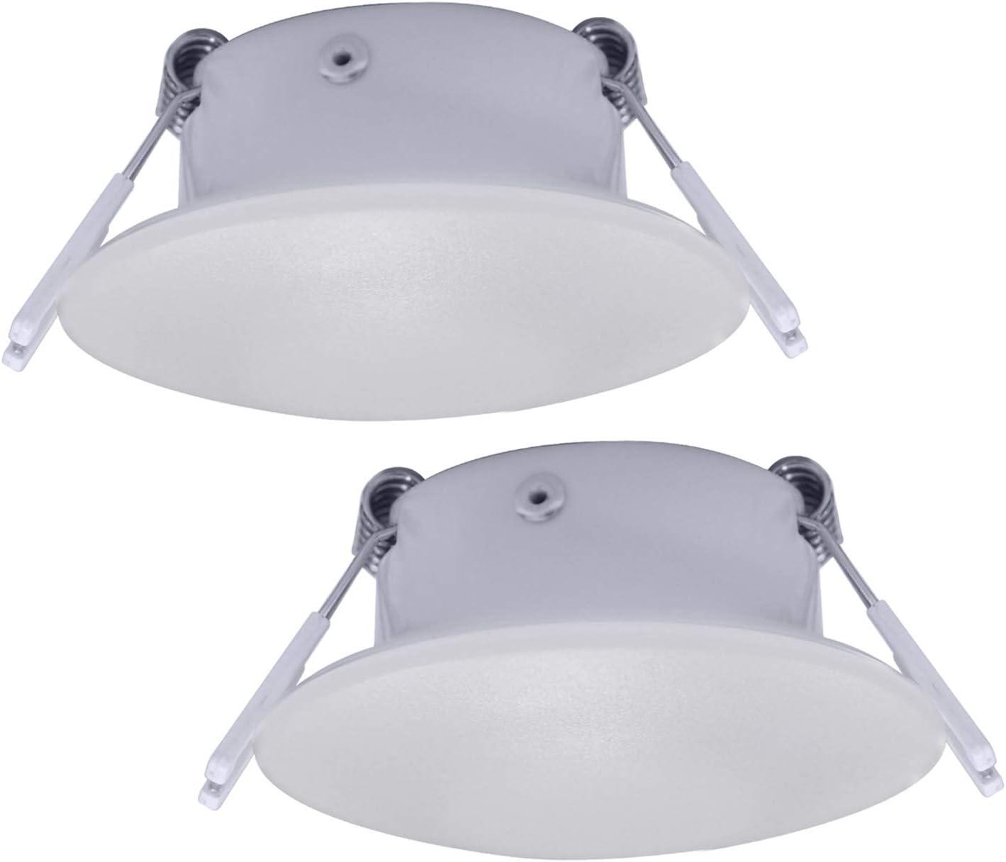 Facon - Luz LED de techo empotrable de aluminio de 3 pulgadas para caravanas, autocaravanas, caravanas, caravanas, remolques, barcos (2 unidades)