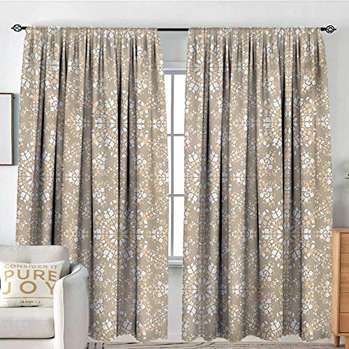 Blackou Curtains Mosaic,Antique Roman Time Inspired Rock Design with Circled Modern Lines Image Print,Tan Peach White,Wide Blackout Curtains, Keep Warm Draperies,Set of 2 Panels 54