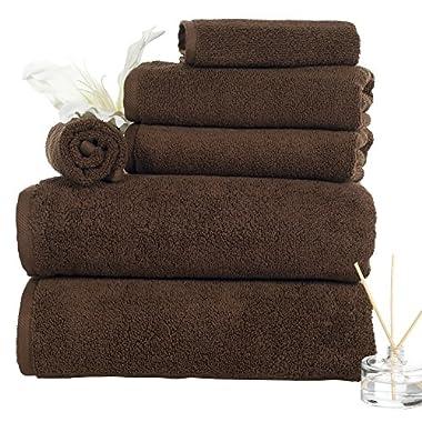 Bedford Home 6 Piece 100% Egyptian Cotton Zero Twist Towel, Chocolate