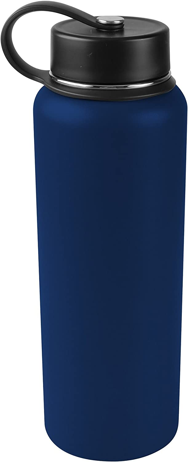Tahoe Trails 40 oz Double Wall Vacuum Insulated Stainless Steel Water Bottle, Dark Blue
