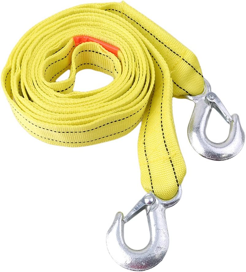 Yinew Heavy Duty Towing Rope Breaking Capacity with Alloy Steel Hooks for Pulling Cars,U-shaped hook bright yellow,4 meters