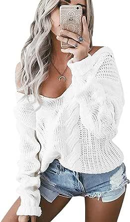 Jerseys de Punto Mujer Jersey Punto Mujer Oversize Sueter Cuello en V sin Tirantes Mujer Suéter Tejido Grueso Jerséis Oversized Señora Sweater Anchos Mujeres Jerséy Sweaters Sueteres Tejidos Invierno