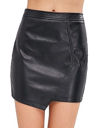 cd3dc7f90 ZAFUL Women's Faux Leather Asymmetrical Mini Skirt High Waisted Zipper  Bodycon Pencil Skirt(Black-