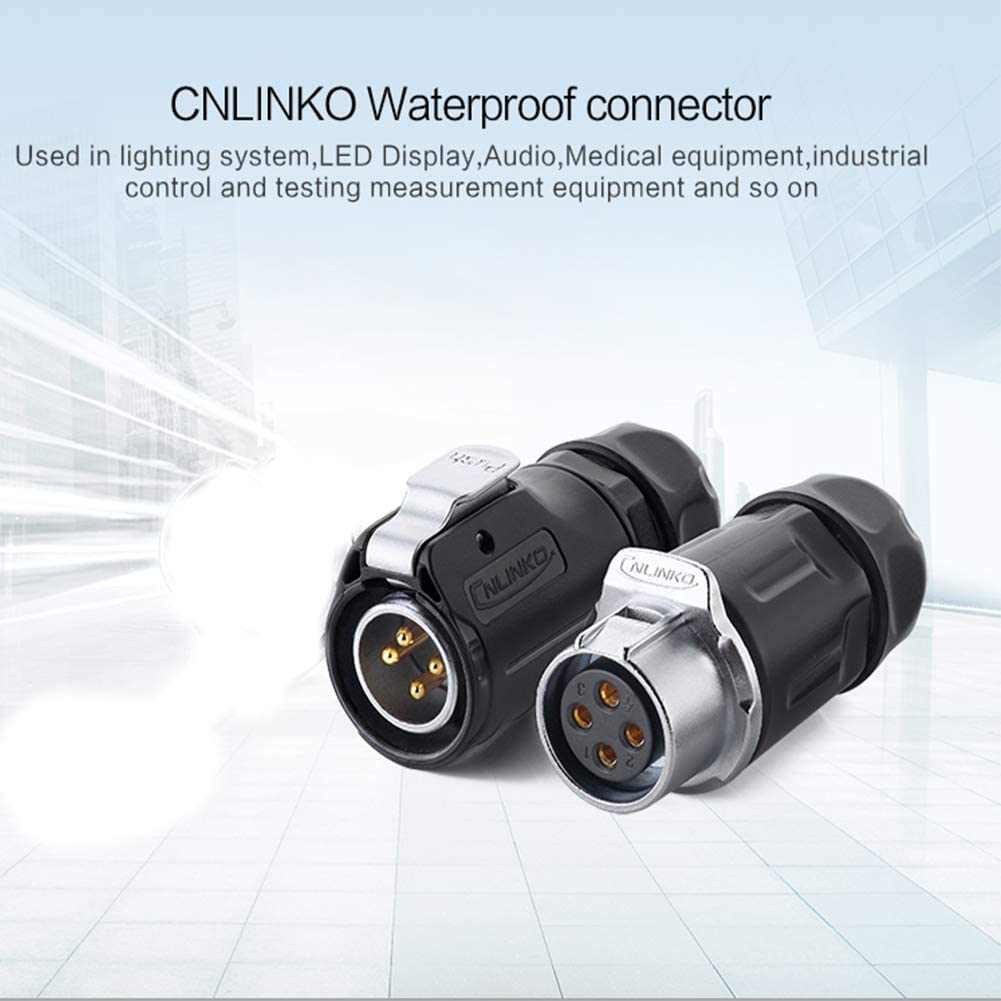 CNLINKO LP20 Aviation Connector Extension Cable Male to Female Connector M20 Plastic Waterproof Thread Panel Connector 4 Pins for AC DC Signal LED Lighting Equipment