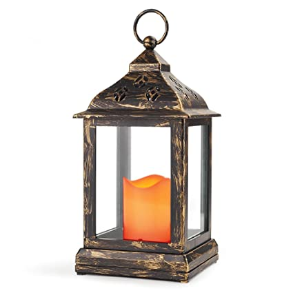 BRIGHT ZEAL 10u0026quot; Decorative Lantern With LED Candle   Bronze Lantern  Vintage Lanterns Decor