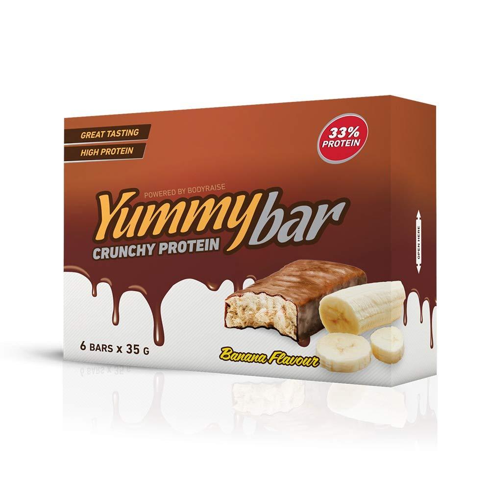 Bodyraise YummyBar Crunchy Protein Bar 6x35g - Suplemento con Sabor a Plátano Lleno de Proteínas - Bajo en Calorías y Grasa - Ayuda a Perder Peso - 6 ...