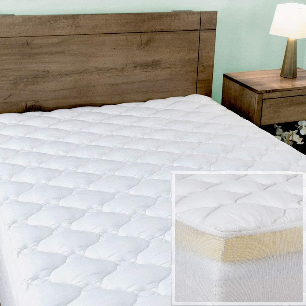 Night Nest Premium Mattress Pad and Memory Foam Mattress Topper Made in The USA - Queen Size