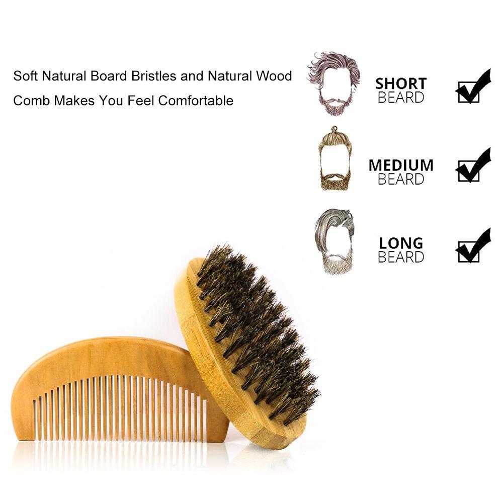 JUSTIME barba Cepillo y peine para hombres, cerdas de jabalí barba Cepillo y peine ayuda a que suaviza y acondicionado bigotes