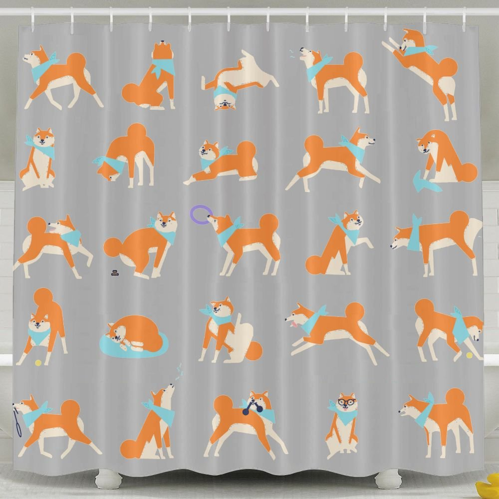 Shiba Inu Dog Performing Everyday Activities Odorless Waterproof Shower Curtains For Bathroom Premium 100% Polyester Fabric Decorative Bath Curtain Designs For Father's Day Mother's Day by Usieis