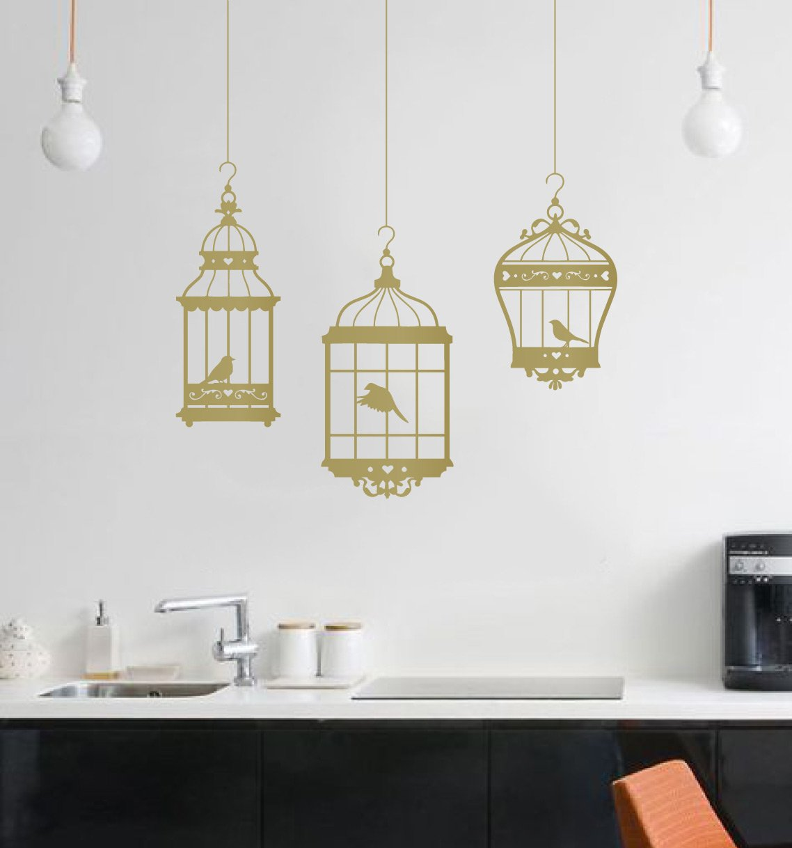 Amazon com pretty birds in 3 hanging birdcages vinyl wall decal stickers removable decorative graphic transfers gold 48x37 inches home kitchen