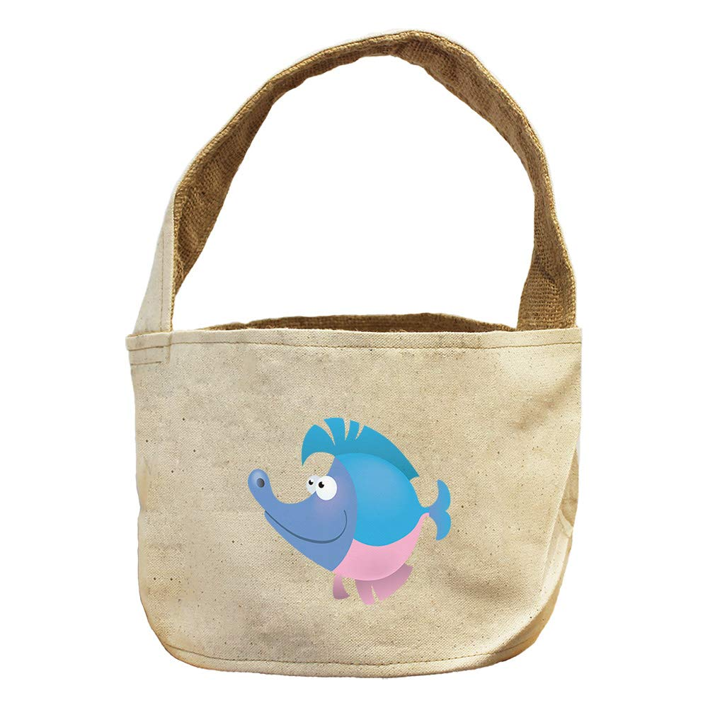 Style in Print Fish Long Nose Animals Canvas and Burlap Storage Basket