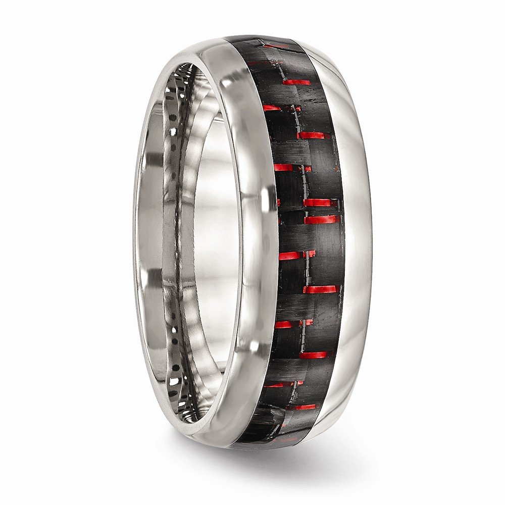 Bridal Wedding Bands Decorative Bands Stainless Steel Polished Black//Red Carbon Fiber Inlay Ring Size 12