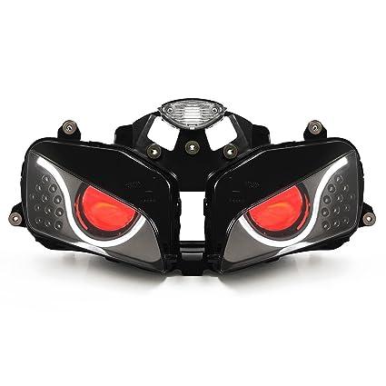 Kt Led Optical Fiber Headlight Assembly For Honda Cbr600rr 2003 2006 V2 Red Demon Eye