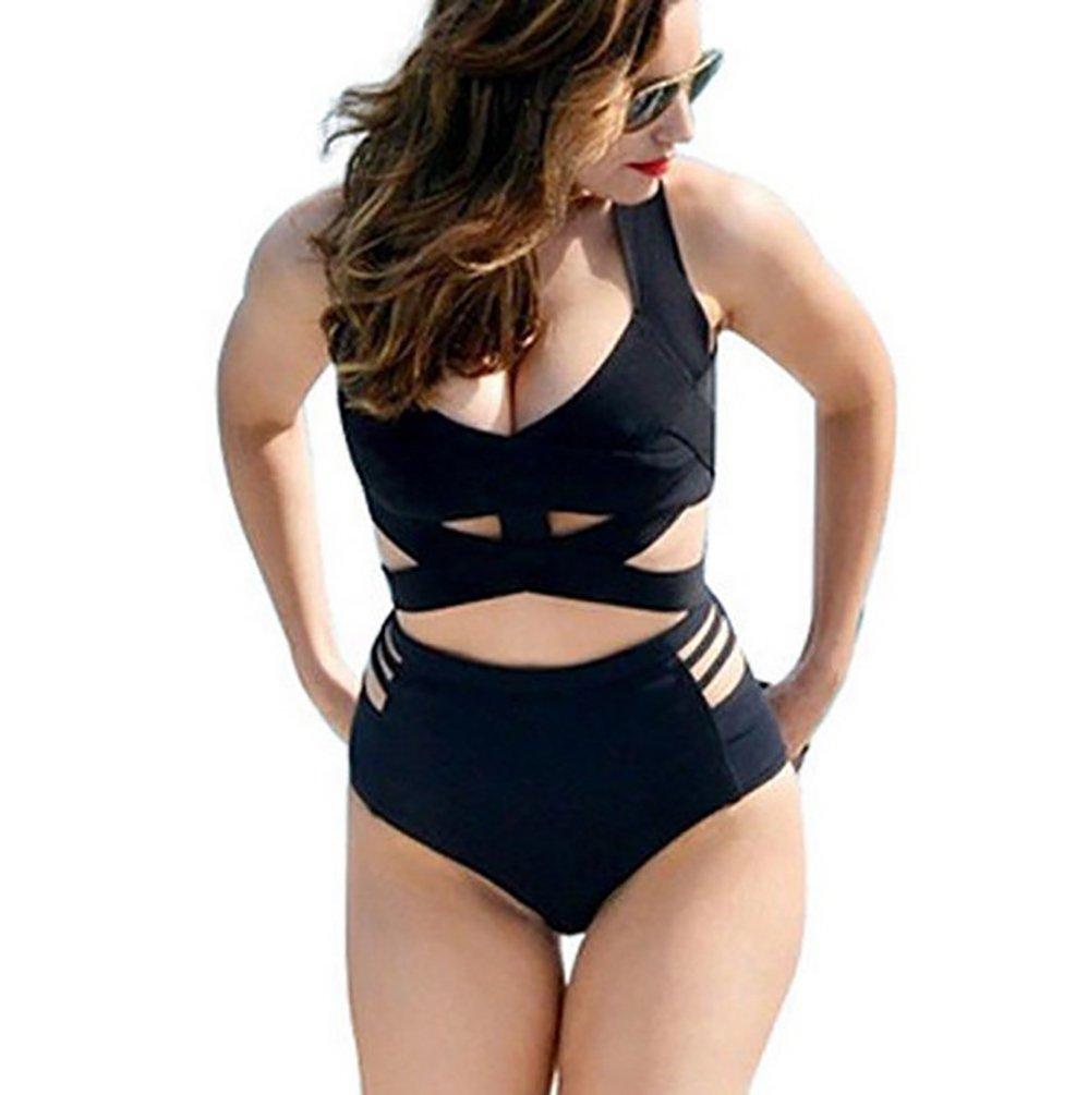Luckmagic Women Plus Size Swimsuits High Waist Padded Strappy Bikini Set Swimwear (Black,XXXL)
