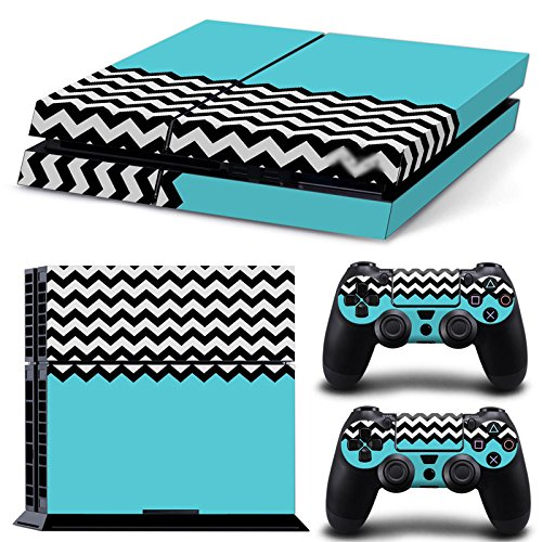 turxin-ps4-console-and-dualshock-4-controller-skin-set-black-white-chevron-baby-blue-playstation-4-v