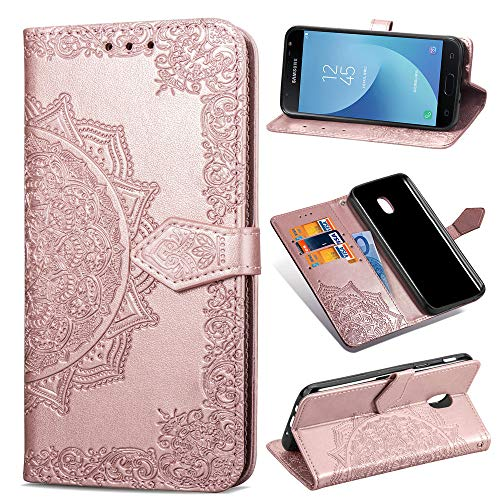 Galaxy J3 2018/J3 V 2018/J337/Express Prime 3/J3 Star/J3 Orbit/J3 Achieve/J3 Prime 2/Amp Prime 3/Sol 3 Case,PU Leather Wallet Embossed Mandala Floral Flowers Kickstand Flip Cover Card Holder Rose Gold