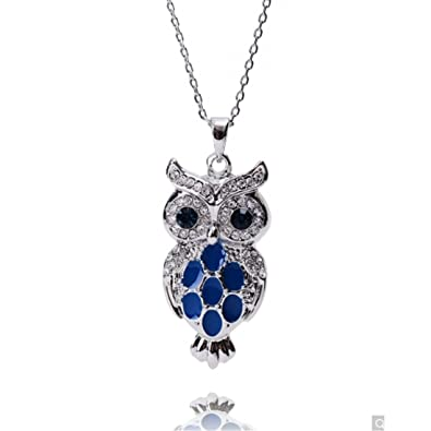Amazon neoglory jewelry platinum plated cute blue owl pendant neoglory jewelry platinum plated cute blue owl pendant necklace for girls with box mothers day gift aloadofball Image collections