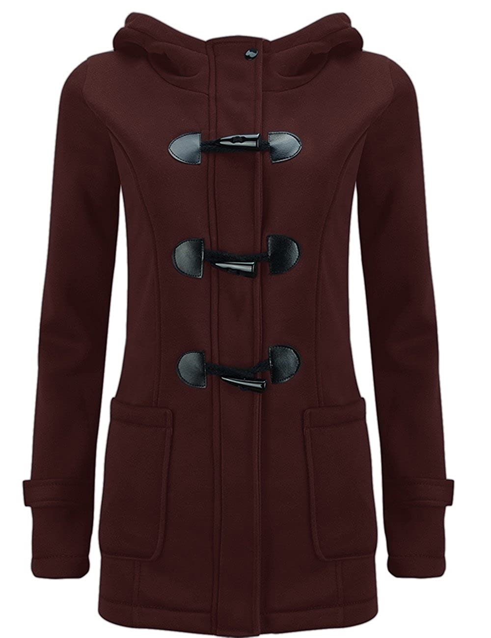 Z.M Womens Autumn Winter Pea Coat Wool Blended Hoodie Casual Button Jacket Coats
