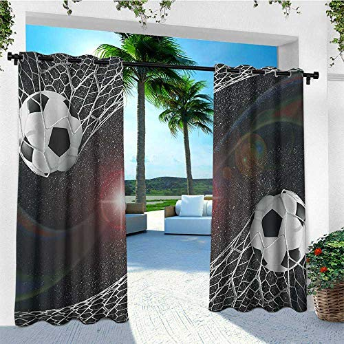 Teen Room, Outdoor Curtain Pole, Soccer Balls Goal Match Success Concept in The Outer Space Winner Glory Theme, for Patio W96 x L108 Inch Multicolor - Pole Curtain Match