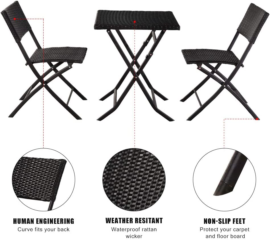 Oshion 3 Pieces Folding Rattan Outdoor Patio Furniture Sets Wicker Patio Bistro Set and Outdoor Indoor Use Backyard Porch Garden Poolside Balcony Furniture Sets Black