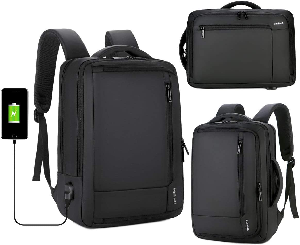 15.6 Inch Laptop Backpack,Business Anti Theft Slim Durable Laptops Backpack with USB Charging Port,Water Resistant College School Computer Bag for Women Men Fits 15.6 Inch Laptop and Notebook,Black