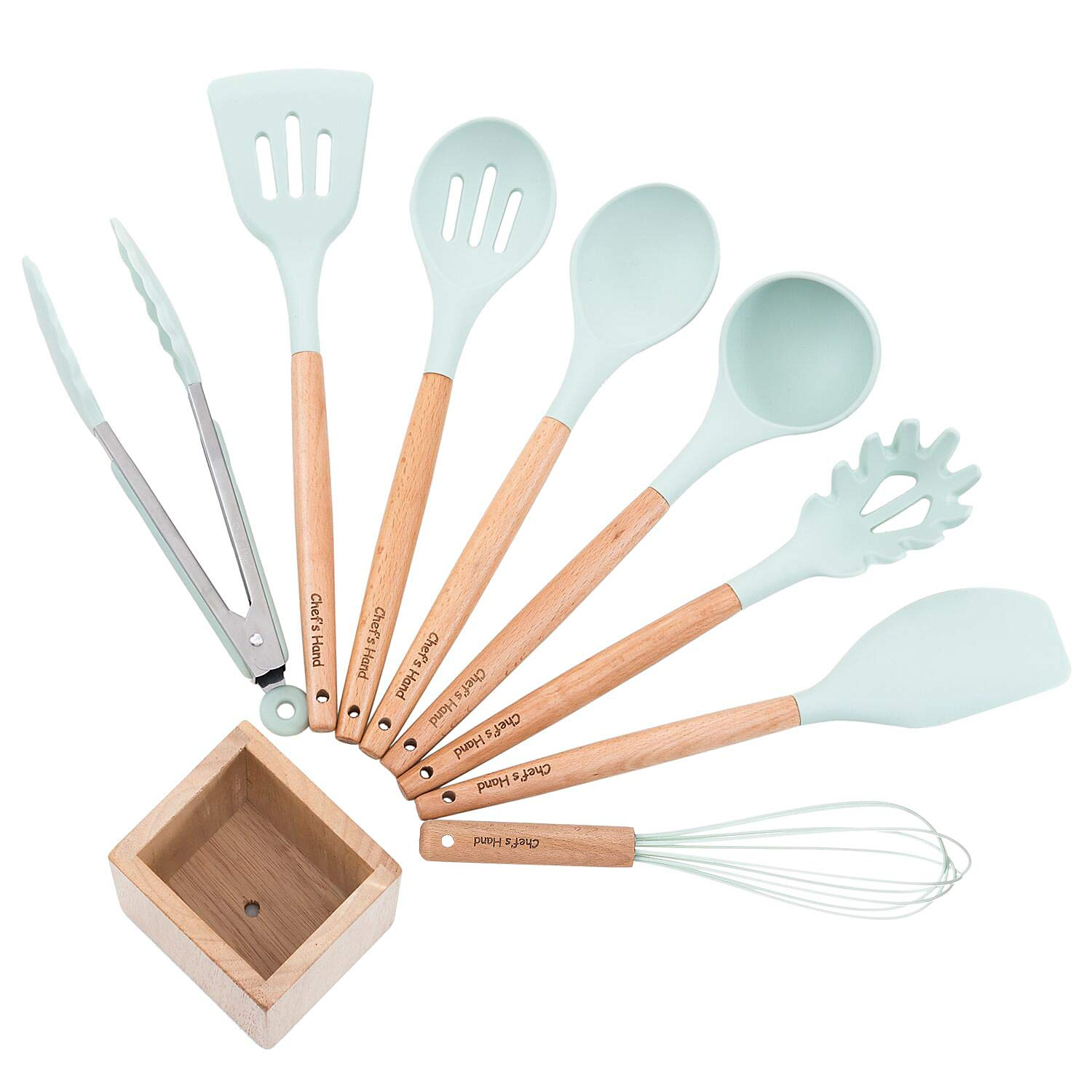 Kitchen Utensil Set Silicone Cooking Utensils 9Piece - Cooking Utensils Set with Bamboo Wood Handles for Nonstick Cookware,BPA Free, Non Toxic Turner Tongs Spatula Spoon Set.-Chef