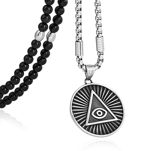 827d1ef062b24 BLEUM CADE Stainless Steel All Seeing Eye Pendant Necklace With ...