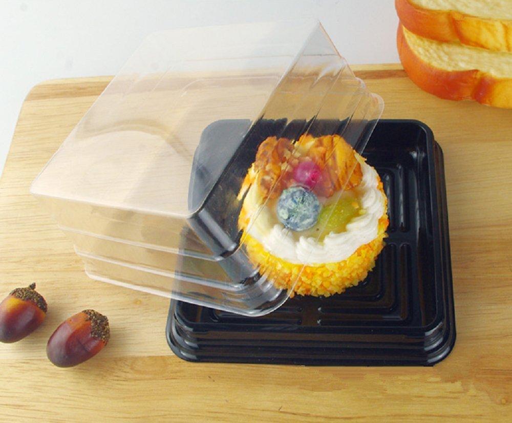 Cake Box - 4'' Transparent Plastic Mini Cake Box - Feast Cupcake Box - Muffin Box Biscuit Box Flat Top Box Bakery Cake Shop Sale Use (black) by Hewnda (Image #4)
