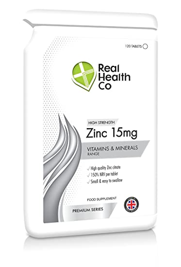 Amazon Com Real Health Co 15mg Zinc Tablets Pack Of 120 Tablets