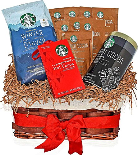 Christmas Starbucks Coffee Winter Blend & Hot Cocoa Variety Gift Basket with the most popular Christmas flavors - Peppermint and Holiday Classic - Gift Pack for Family, Friends, Him, Her and more