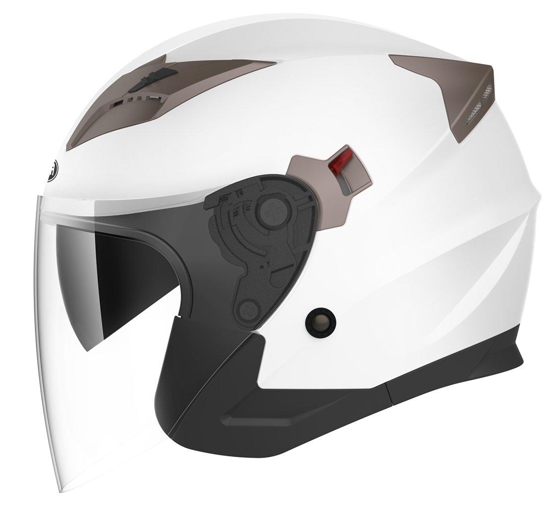 Motorcycle Open Face Helmet DOT Approved - YEMA YM-627 Motorbike Moped Jet Bobber Pilot Crash Chopper 3/4 Half Helmet with Sun Visor for Adult Men Women - White,XXL