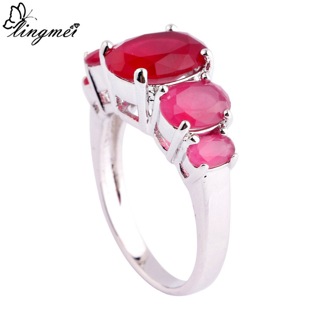 Slyq Jewelry L Oval Cut Red Silver Ring Size 6 7 8 9 Women cz engagement ring fashion jewelry rings