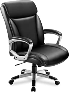 ComHoma Office Executive Chair High Back Super Comfortable Ergonomic Managerial Chair Adjustable Home Office Desk Chair Swivel Black