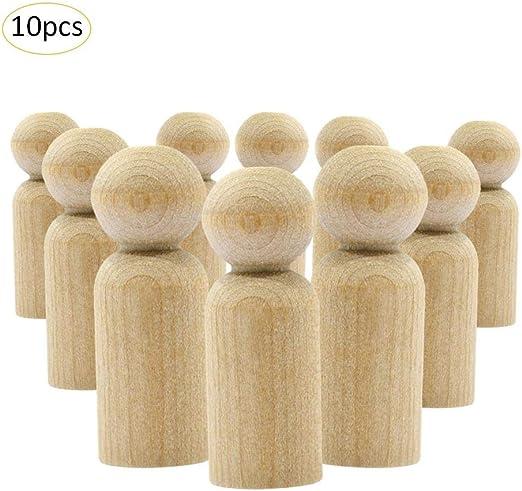 10 Stücke Holz Peg Puppen DIY Holzfiguren Figurenkegel Spielfiguren