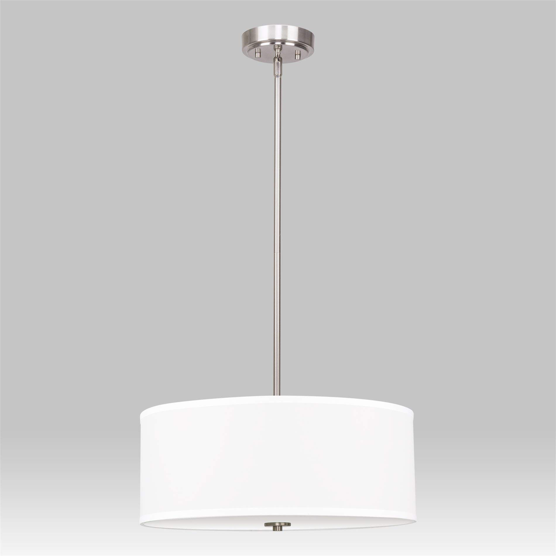 Kira Home Nolan 18'' Classic Drum Chandelier, Stem-Hung Adjustable Height, White Fabric Shade + Glass Diffuser, Brushed Nickel Finish by Kira Home (Image #1)