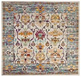 Safavieh Crystal Collection CRS518G Cream and Teal Distressed Area Rug (7' Square)
