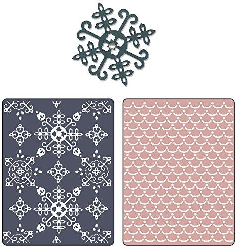 Sizzix Textured Impressions Embossing Folders with Bonus Sizzlits Die - Santa Lucia & Moguls Set by BasicGrey