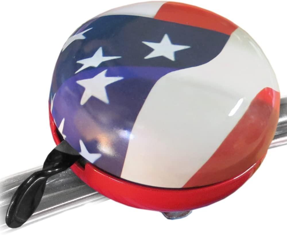 American Flag Bicycle Bell with Big Loud Ding Dong Sound Fits on Most Handlebars