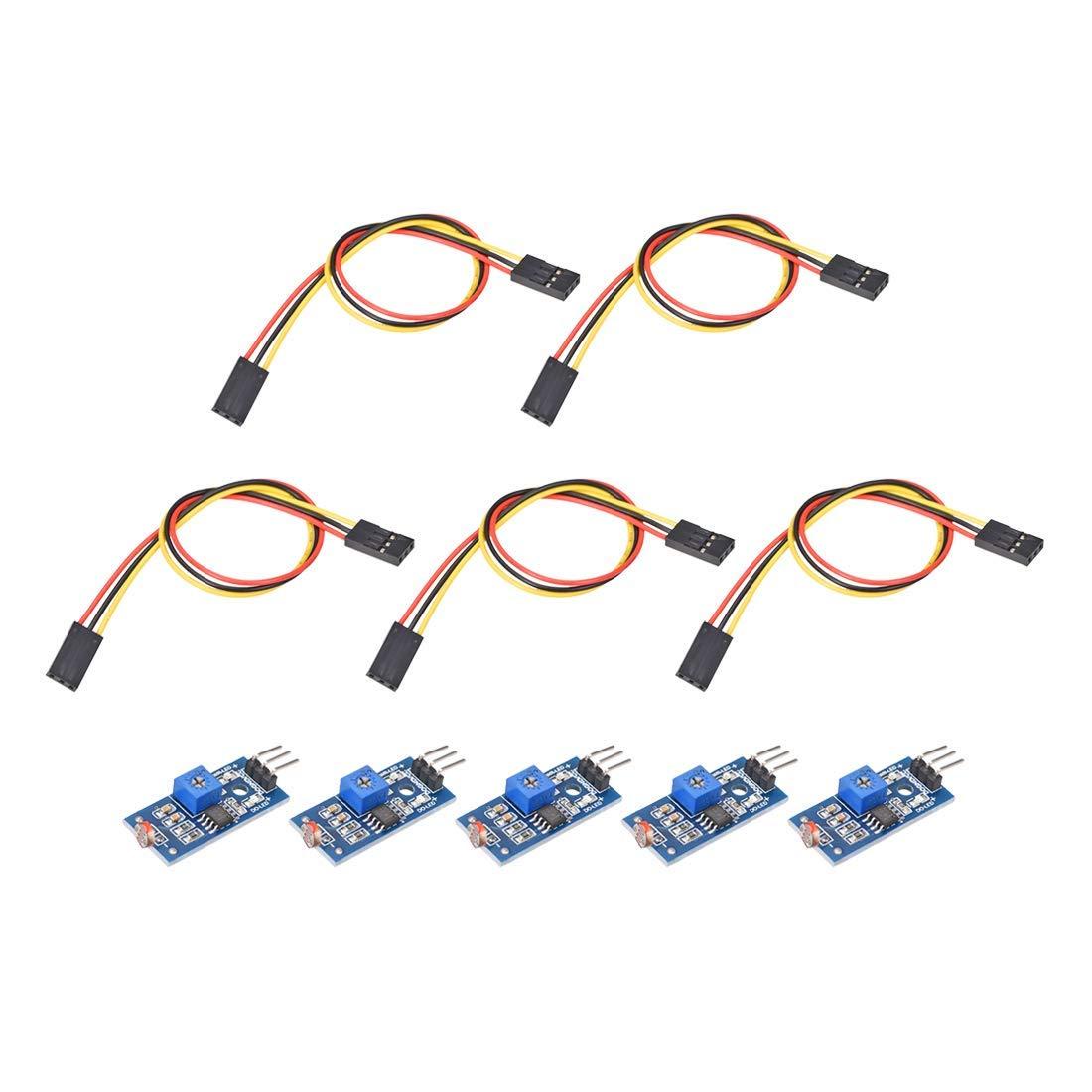 photosensitive Sensor Module Digital Light Intensity Detection with 3P DC 3.3-5V Jumper Cable for Arduino UNO 5pcs