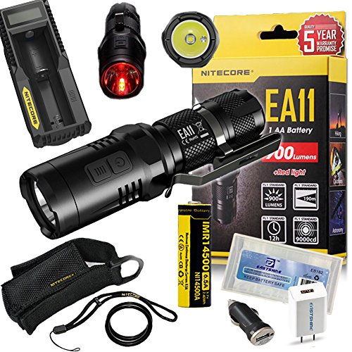 EASTSHINE Bundle:Nitecore EA11 LED Flashlight CREE XM-L2 U2 with Red Light 900 Lumens 207 Yards Beam Distance Mini Searchlight by IMR 14500 Battery UM10 Charger EB182 Battery Box Wall Adapter