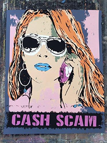"16"" x 20"" - Cash Scam - Limited Edition Hand Silk Screened Art Painting Womens Aviator Sunglasses Art by Rob Johnston Artist"