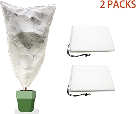 2pcs Winter Plant Protection Cover Bags Warm Frost Cloth Blanket Polypropylene Garden Fabric Protecting Fruit Tree Potted Plants 31.5 x 39.4, 3 PCS 35.4 x 59, 2 PCS