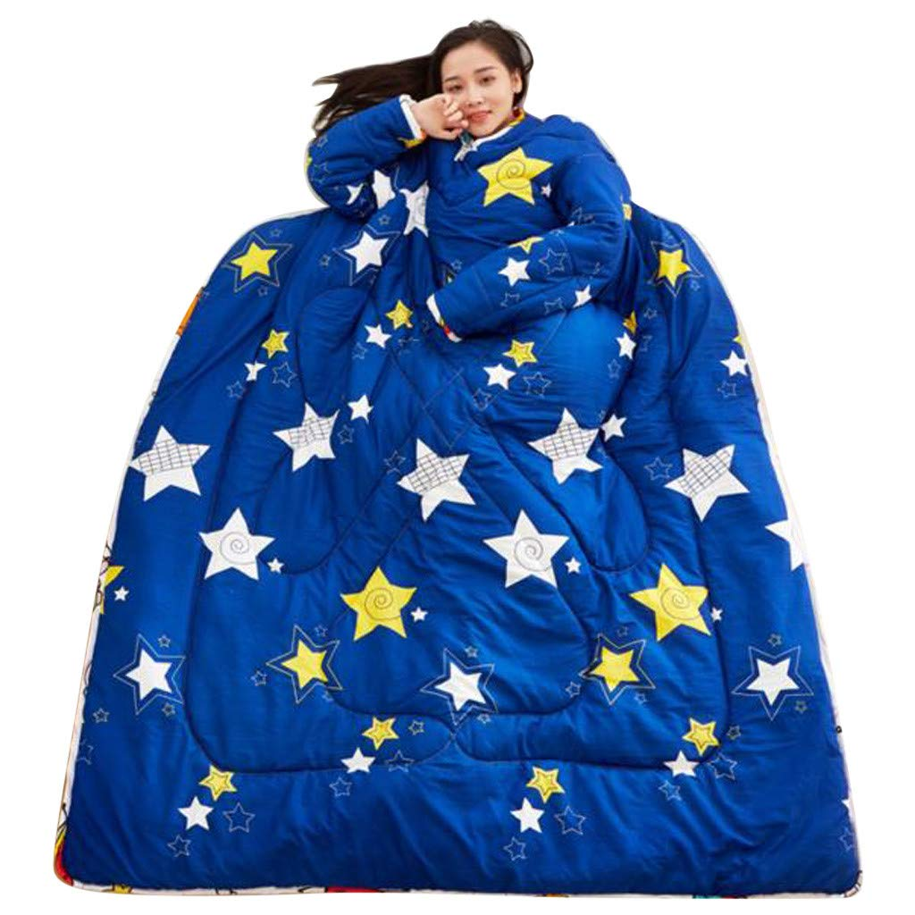 Sonmer Winter Lazy Warm Print Thickened Washable Quilt Blanket, With Sleeves (A)