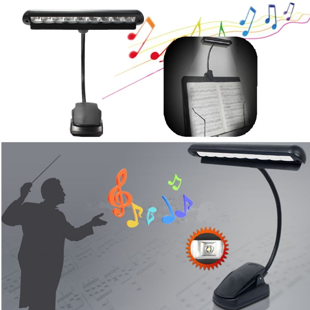 Color: Black yodaliy Music Stand Light Rechargeable Flexible 10 LEDs Clip-On Orchestra Music Stand Piano Lamp Light with US Adapter 16 Hours On The High Setting for Music Sheet Stand US Plug,Black