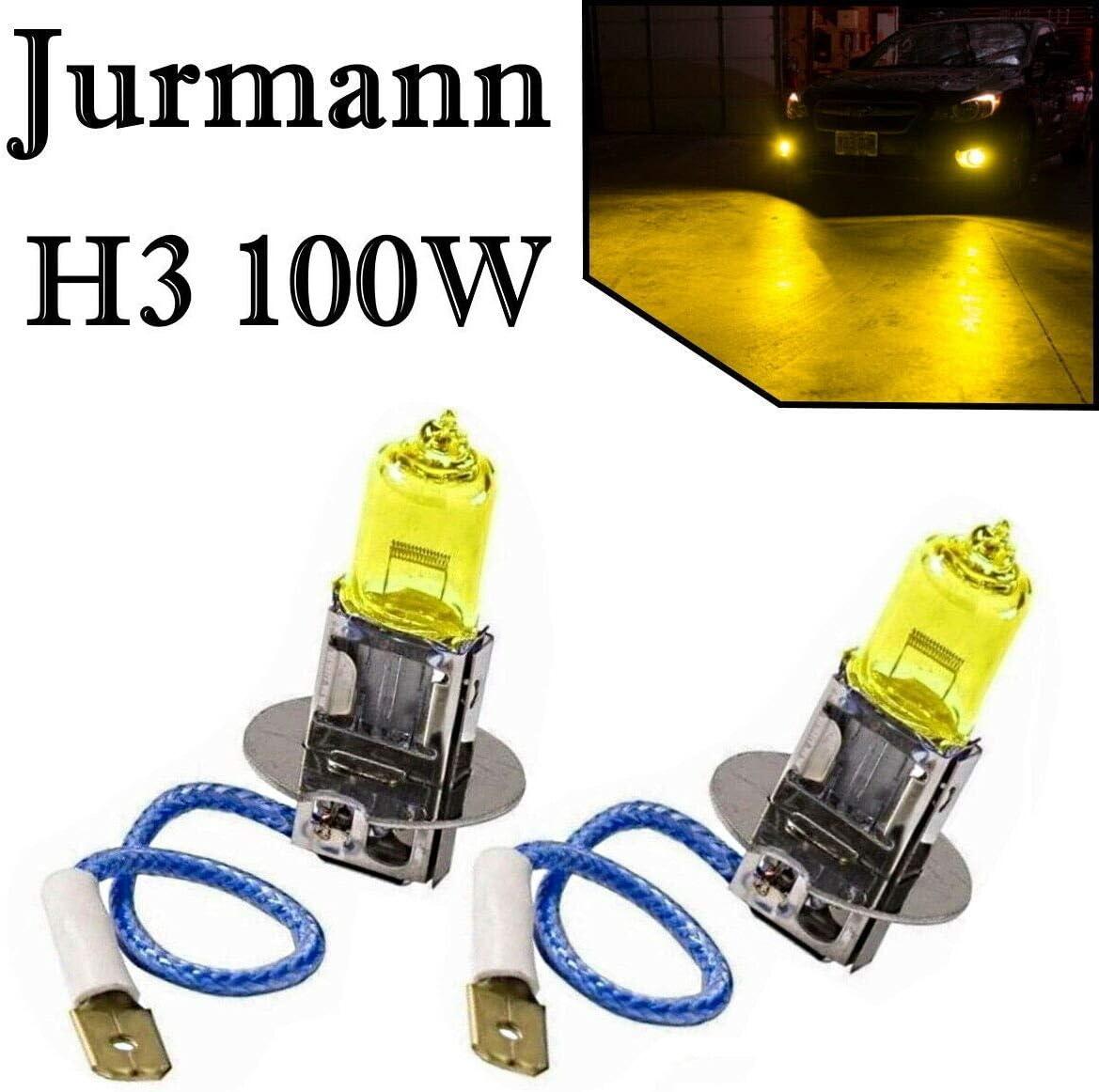 2x H3 100w 12v Aqua Vision Gelb Yellow Quarz Halogen Lampen Auto
